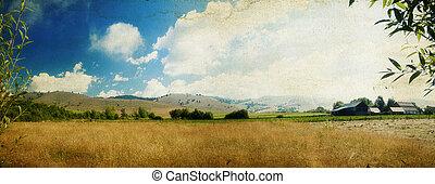 país, panorámico, paisaje