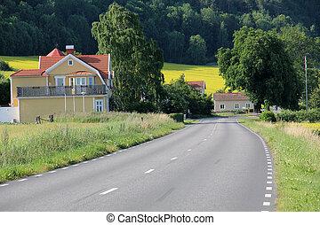 país, seis, estrada