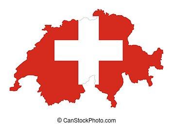 país, silueta, bandera, suiza