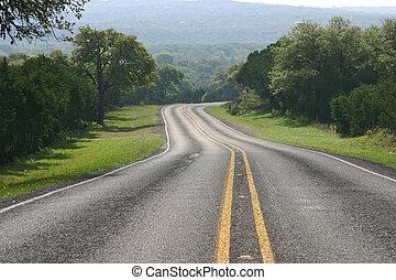 país, tejas, curvar, colina, camino