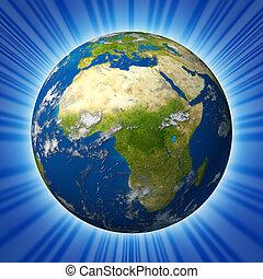 países, áfrica oriental, meio, terra, caracterizando