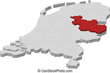 países baixos, mapa, destacado, overijssel
