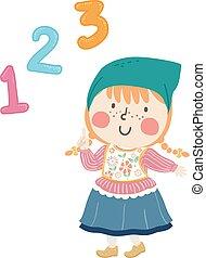 países baixos, número, ilustração, 123, menina, criança