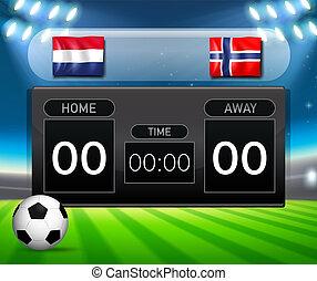 países baixos, scoreboard, futebol, noruega, vs
