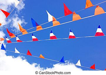 países bajos, celebrar, banderas, naranja, reyes, día
