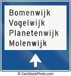 países bajos, muestra del camino, k12, -, local, poste...