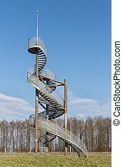 países bajos, watch-tower, espiral, lelystad, hecho, escaleras, aeropuerto
