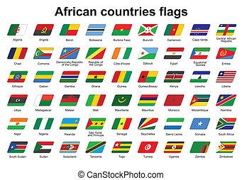 países, bandeiras, africano, ícones