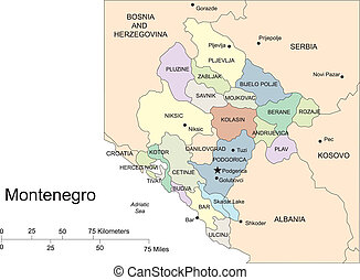 países, capitales, distritos, circundante, montenegro,...