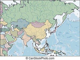 países, mapa, continente de asia