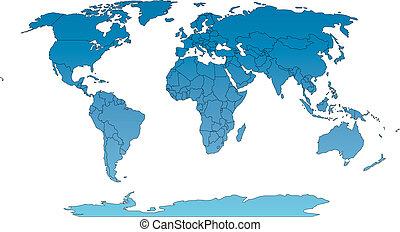 países, robinson, mapa, mundo