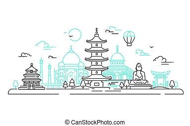 países, viaje, -, ilustración, vector, asiático, línea