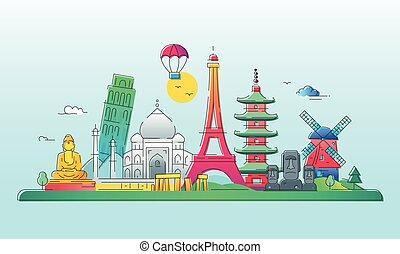 países, viaje, -, ilustración, vector, línea