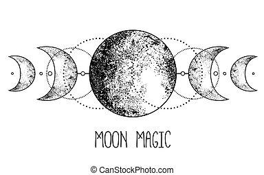païen, tatouage, illustration., three-faced, boho, lune, ...