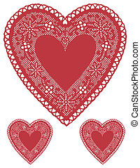 pañitos adorno, corazón, antigüedad, encaje, rojo