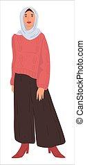 pañuelo, islámico, vestido, mujer, musulmán, moda