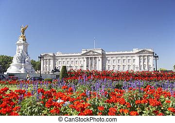 pałac buckinghama, z, kwiaty, rozkwiecony, w, przedimek...