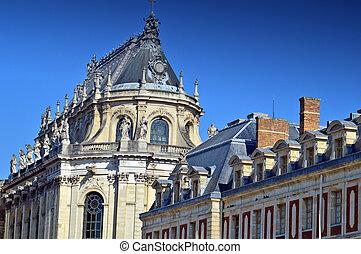 pałac, królewski, francja, przód, versailles, kaplica