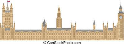 pałac, od, westminster, ilustracja