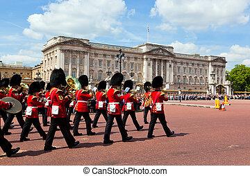 pałac, sprawować, królewski, brytyjski, gwardia, buckingham...