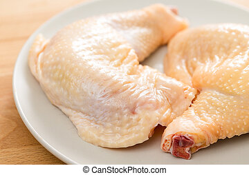 pałeczka do bicia w bęben, zamknięcie, kurczak, do góry, świeży