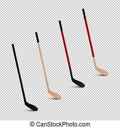 pałki., szablony, komplet, tło., -, odizolowany, ilustracja, lekkoatletyka, realistyczny, projektować, lód, vector., closeup, ikona, przeźroczysty, hokej
