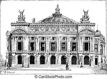 paříž, opera, do, paříž, francie, vinobraní, rytina
