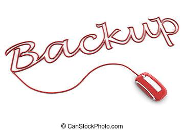 paść się, backup, połyskujący, lina, czerwony
