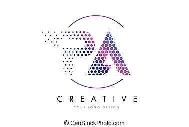 PA P A Pink Magenta Dotted Bubble Letter Logo Design Vector...