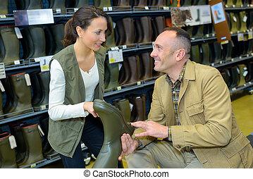paar, aankoop, laarzen