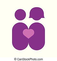 paar, abstrakt, liebe, vektor, abbildung, grafik