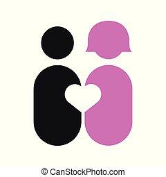 paar, abstrakt, stück, von, liebe, vektor, abbildung, grafik
