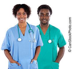 paar, afrikaanse amerikanen, artsen