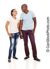 Paar, afrikanisch, junger, Besitz, Hände