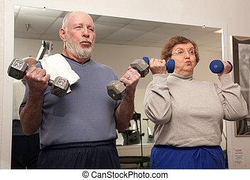 paar, arbeit, senioren, heraus