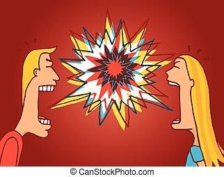 paar, argument, vecht, opgewonden, het bespreken, of