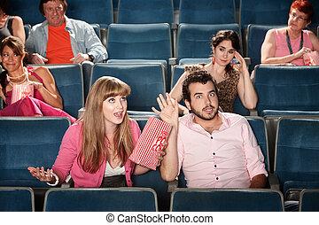 paar, argumentieren, theater