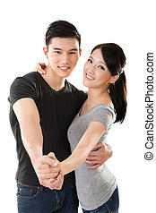 paar, aziaat, jonge, dancing