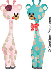 paar, baby, giraffes