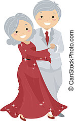 paar, ballroon, stickman, dancing, senior