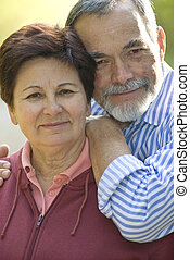 paar, bejaarden, vrolijke