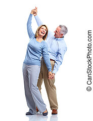 paar., bejaarden, vrolijke