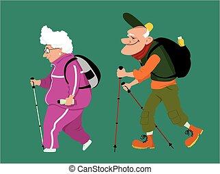 paar, bejaarden, wandelende