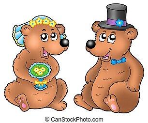 paar, beren, schattig, trouwfeest