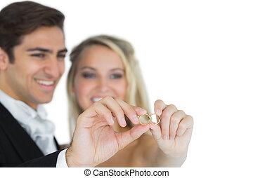 paar, beschädigt, ihr, ausstellung, ringe, wedding, junger