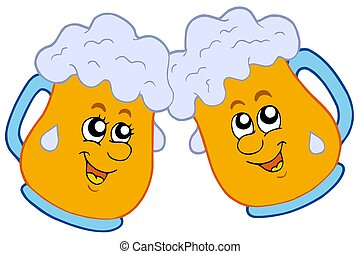 paar, bieren, spotprent