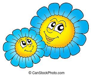paar, blauwe bloemen, smilling