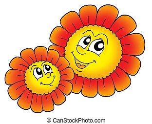 paar, bloemen, rood, smilling