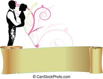 paar, boekrol, trouwfeest