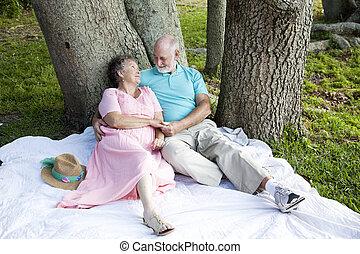 paar, -, bomen, onder, oud romaans